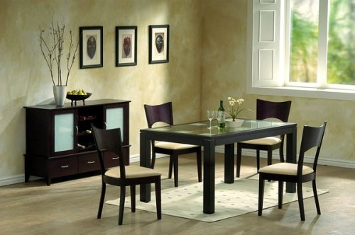 5pc Radius Collection Contemporary Dining Table and Chairs Set