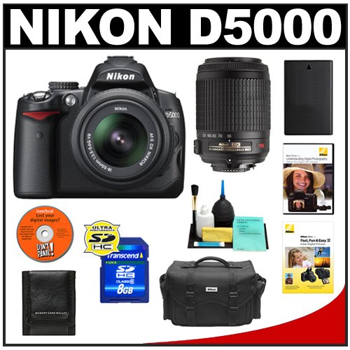 Nikon D5000 Digital SLR Camera w/ 18-55mm VR Lens + 55-200mm VR Zoom Lens + 8GB Memory Card + Spare EN-EL9 Battery + Case + Cameta Bonus Accessory Kit + 2 Nikon School DVDs