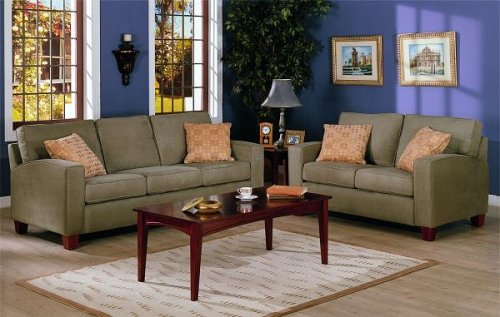 2pc Contemporary Style Olive Green Microfiber Sofa and Loveseat Set