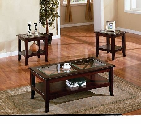 3pc Contemporary Cappuccino Coffee and End Table Set w/Glass Insert