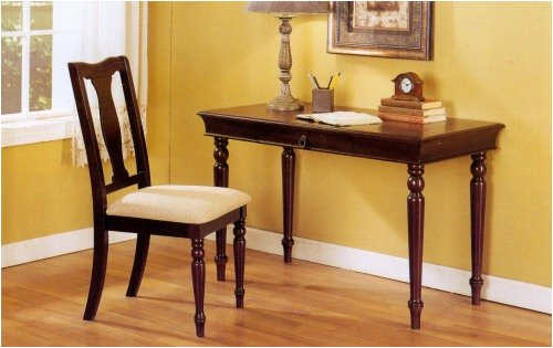 2 Piece Spindle Leg Writing Desk With Chair Set