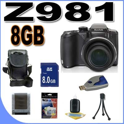 Kodak EasyShare Z981 14MP Digital Camera w/ 26x Wide Angle Optical IS Zoom 8GB BigVALUEInc Accessory Saver Bundle