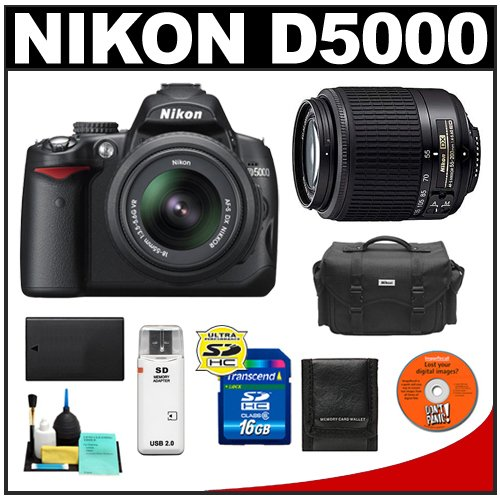Nikon D5000 Digital SLR Camera w/ 18-55mm VR Lens + 55-200mm Zoom Lens + 16GB Memory Card + Spare EN-EL9 Battery + Case + Cameta Bonus Accessory Kit