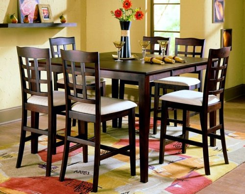 7pc Contemporary Collection Counter Height Dining Table and Barstools Set 