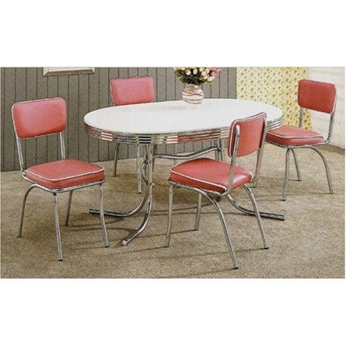 Set of 2 50's Retro Nostalgic Style Dining Chairs w/Rose Covered Cushioned 