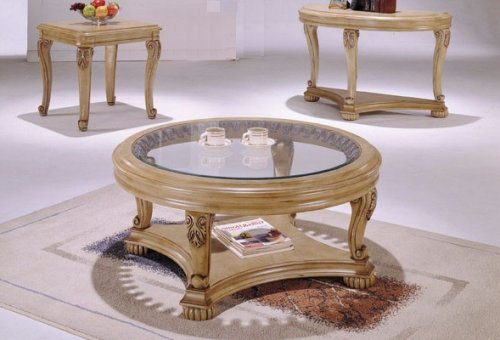 Antique White Finish Round Wood Carved COFFEE TABLE with Glass Top