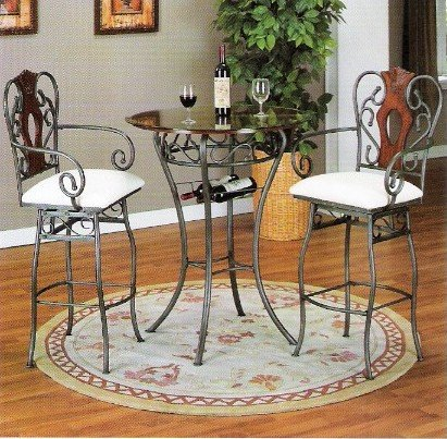 3 pc bar table set metal and wood with glass top
